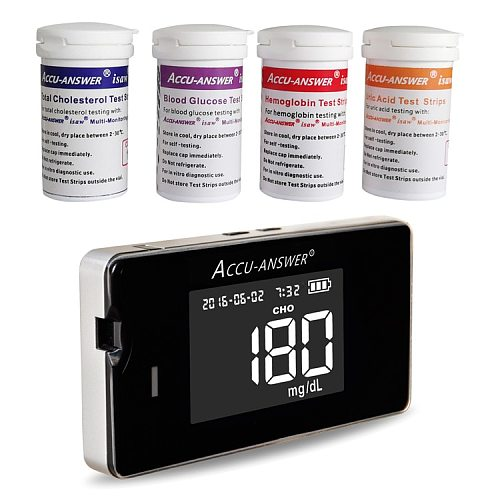 4 in1 Multi-Function Cholesterol &Uric acid &Hemoglobin with Blood glucose Test strips for Diabetes Gout Device&Lancets