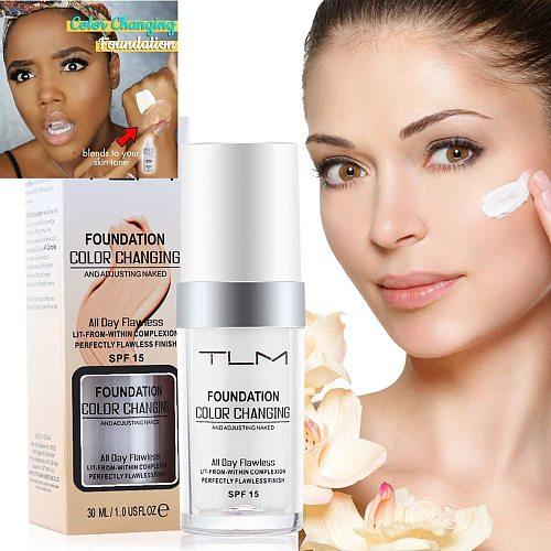 30ml TLM Color Changing Foundation Make Up Cover Primer Base MakeUp Sunblock SPF 15 Natural Color Brightening Moisturizing