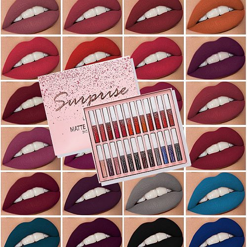 24 Colors/Set Matte Lipstick Set Waterproof Long Lasting Matte Lip Gloss Nude Velvet Pigment Batom Women Fashion Lip Makeup
