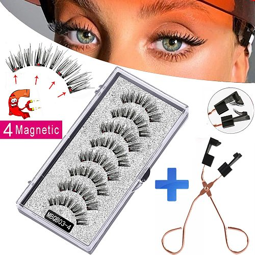 MB 8PCS 4 Magnets Magnetic Eyelashes Natural Mink Eyelashes 3D Magnetic Lashes Makeup Beauty Eye lashes Extension Tools New