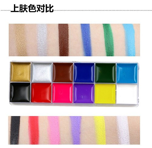 Festival World Cup body face paint play clown Halloween makeup paint kit oil face painted Make up Flash Tattoo brush set