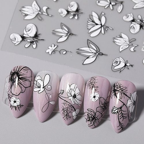 1PC 3D Nail Sticker Black And White Flower Leaf Patterns Nail Art Decals Summer Popular Art Nail Decal Decorations New