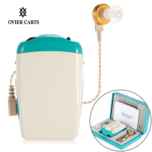 Pocket Hearing Aid Sound Amplifier for Severe Hearing Loss Adjustable Voice Volume with Earplugs Ear Care Hearing Aid Machine