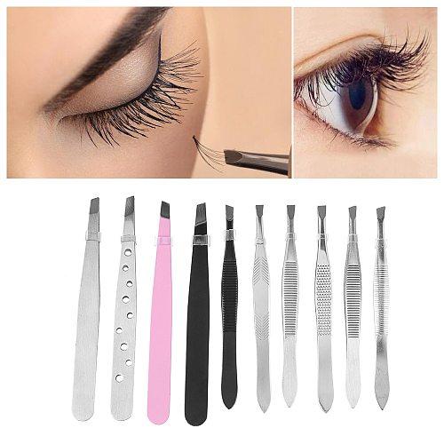 10 Pcs/set Stainless Steel Eyebrow Tweezers Hair Pluckers Clip Eyebrow Trimmer Eyelash Extension Clip Makeup Beauty Tools