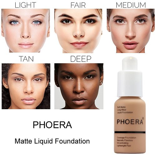 PHOERA Perfect Beauty New 30ml Foundation Soft Matte Long Wear Oil Control Concealer Liquid Foundation Cream Fashion Makeup