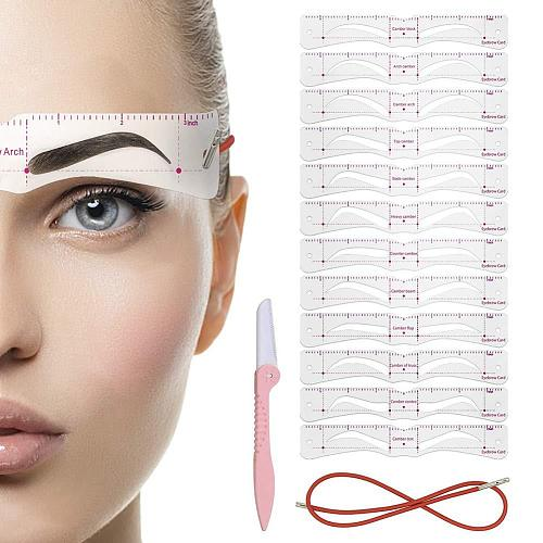 12pcs/set Reusable Eyebrow Stencil Set Eye Brow Diy Drawing Guide Styling Shaping Grooming Template Card Easy Makeup