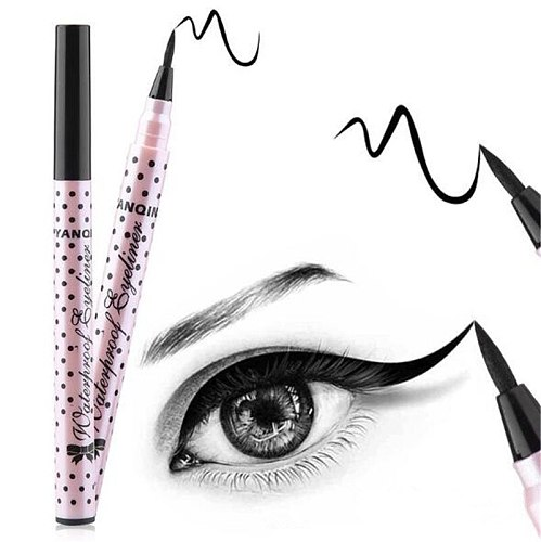 Ultimate 1 Pcs Black Long Lasting Eye Liner Pencil Waterproof Eyeliner Smudge-Proof Cosmetic Beauty Makeup Liquid Pink dots