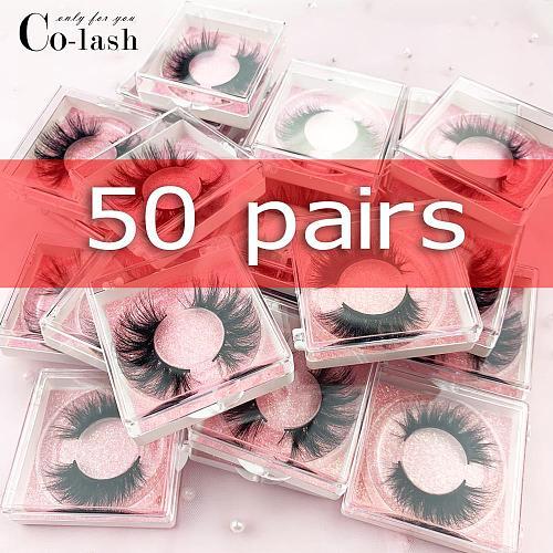 Colash Custom box false eye lashes Natural 100% handmade thick False Eyelashes Mink Eyelashes Square 50 box
