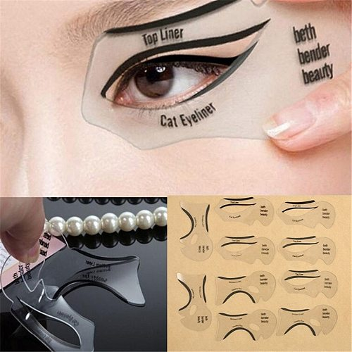 2pcs Pro Eyeliner Stencils Winged Eyeliner Stencil Models Template Shaping Tools Eyebrows Template Card Eye Shadow Makeup Tool