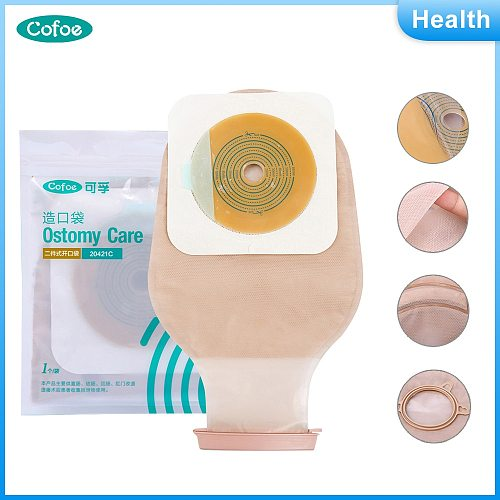 Cofoe Two-piece System Ostomy bag Drainable Colostomy Care Bags Cut-to Fit 20-60mm Ostomy Bag with Carbon Filter