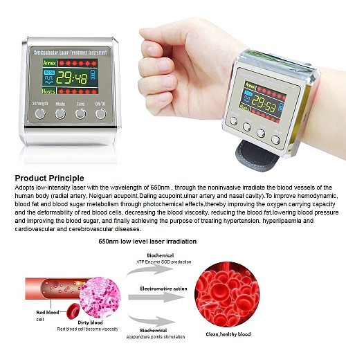 Laser Physiotherapy Wrist Watch Low Level Laser Therapy Sinusitis Wrist Watch Rhinitis Hypertension Treatment Diabetic Watch