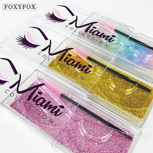 Wholesale 3d Mink Lashes Case Eyelash Packaging Box Custom Eyelash Logo Stickers Plastic Sliding Clear Custom Lash Boxes In Bulk
