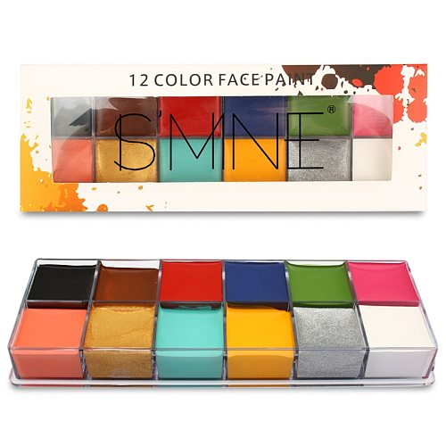 12 Colors Non Toxic Face Body Art Painting Body Painting Oil Tattoo Makeup Cosmetic Drama Clown Makeup Face Halloween Party