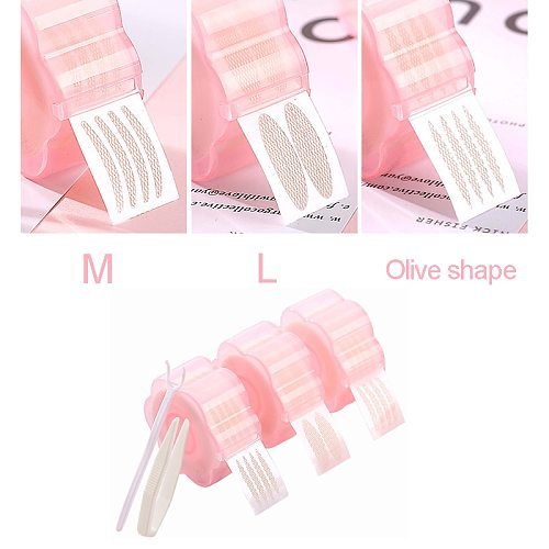 360pcs Invisible Double Eyelid Tape Sticker M L Olive Lifting Eye Fold Magic Natural Eye Tape Roller Fork Makeup Tools