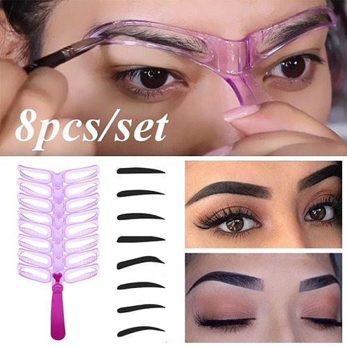 1 Set Reusable 8 In1 Eyebrow Shaping Template Helper Eyebrow Stencils Kit Grooming Card Eyebrow Defining Makeup Tools