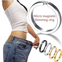 4 Colors Simple High Polished Stainless Steel Cubic Zirconia Stone Lose Weight Rings for Woman