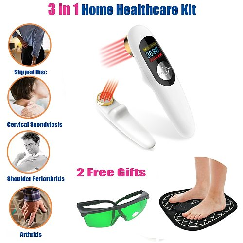 LASTEK 3 in 1 Kit Handheld Pain Relief Laser Therapy Device 808nm Laser Goggles EMS Electronic Pulse massage Foot Pad Free Gifts
