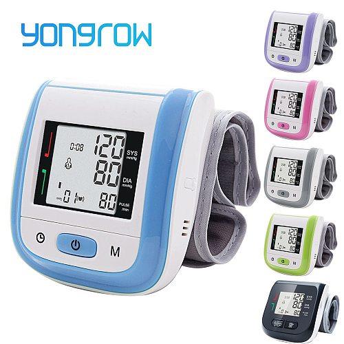 Yongrow Tonometer Automatic Wrist Digital Blood Pressure Monitor Digital lcd Sphgmomanometer Heart Beat Rate Pulse Meter