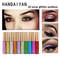 10 Color Liquid Eyeliner Pencil Makeup Long Lasting Waterproof Quick Dry Shining Glitter Eyeliner Pen Big Eye Cosmetics TSLM1