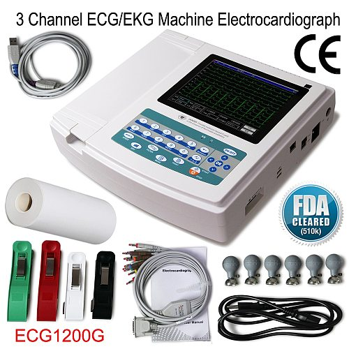 2021 New ECG1200G Digital Electrocardiograph 3 Channel 12 lead Touch Screen EKG ECG Machine with Software Upgraded version
