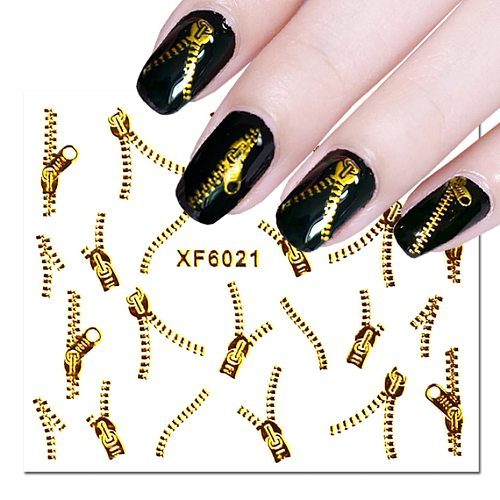 1 Sheet 3D Gold Zipper Sticker On Nail Spider Feather Design Water Transfer Decal For Nail Art Decoration Manicure Slider LA1553