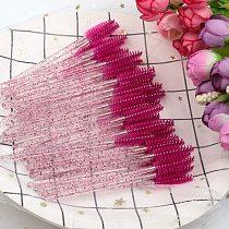 SHIDISAHNGPIN New Disposable 50 Pcs/Pack Crystal Eyelash Makeup Brush Diamond Handle Mascara Wands Eyelash Extension Makeup tool