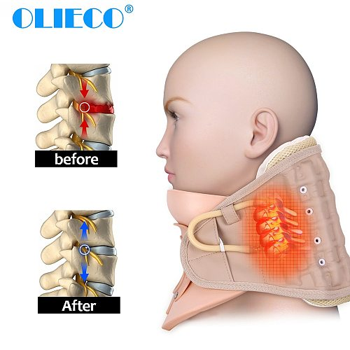 Inflatable Cervical Neck Traction Collar Neck Support Massager Brace Travel Portable Neck Fatigue Pain Relief Health Care Device