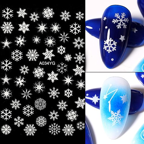 1pcs Snowflakes 3D Nail Art Stickers Christmas Xmas Transfer Stickers For Nails Self-adhensive Decals DIY Nail Art Decoration