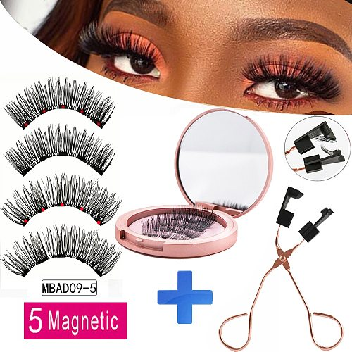 NEW With Mirror 5 Magnet Magnetic Eyelashes 2 Pairs With Applicator faux cils magnetique Natural False Eyelashes Long Mink lashe