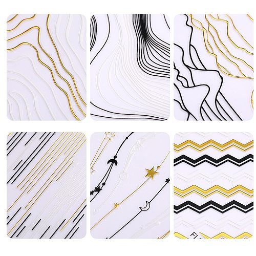 1 Sheet Holo Black Gold 5D Nail Sticker Decal Tassel Strip Line Slider Foils Adhesive Nail Art Decoration