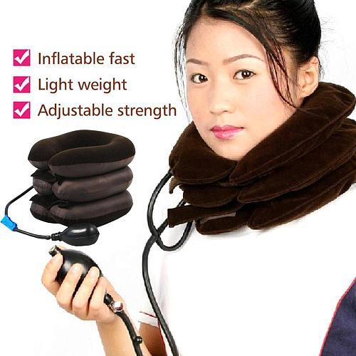 Inflatable Neck Cervical Vertebra Traction Soft Brace Support Device Unit for Headache Head Back Shoulder Neck Pain Neck Tractor
