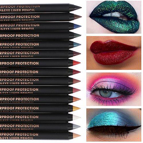 1PC Waterproof Pigment Eye Shadow Liner Combination Longlasting Colorful Eyeliner Eyeshadow Pencil Eye Cosmetics Makeup Tools