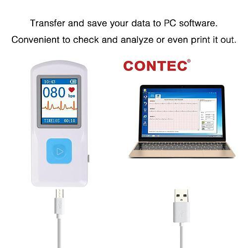 CONTEC PM10 Bluetooth Handheld Portable ECG EKG Machine Heart Beat Monitor LCD USB Software