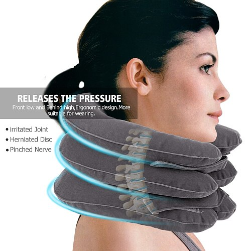 Neck Inflatable Pillow Collar Tractor Air Cervical Traction Device Support Vertebra Orthopedics Massage Relaxation Brace