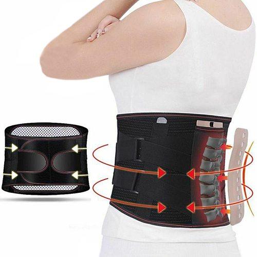 Medical Orthopedic Widen Waist Belt Tourmaline Self-heating Magnetic Lumbar Spine Bone Support Back Brace Belt 3pcs Pad