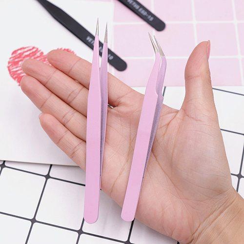2PCS/Set Stainless Steel Eyelash Extension Tweezers Curved Straight Lashes Tweezer Non-magnetic Eyelashes Nail Makeup Tools