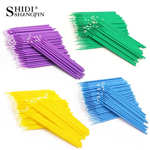 100Pcs Disposable Make up Eyelashes Individual Lashes Removing Cotton Swab Micro Brushes Eyelash Extensions Makeup Tools