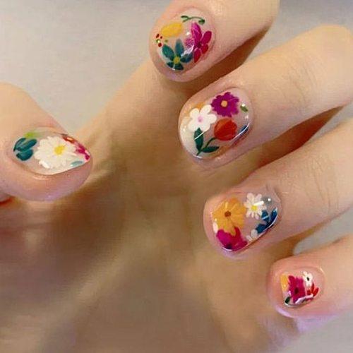 50pcs/box Nail Art Color mixed  small Daisy Flower rose ultra-thin wood pulp patch DIY nail art jewelry  nail art decoration