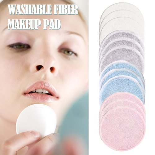 12pcs/Pack Reusable Bamboo Fiber Washable Rounds Pads Makeup Removal Cotton Pad Cleansing Facial Pad Cosmetic Tool Skin Care