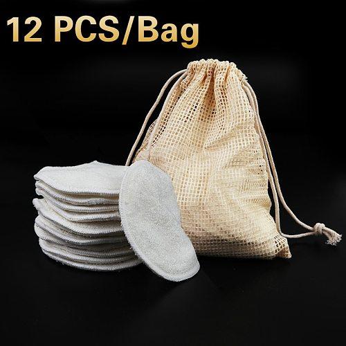12Pcs Bamboo Fiber Makeup Remover Pads Cotton Pads Facial Remover Facial Care Nursing Pad Skin Cleaning Wipes Washable Reusable