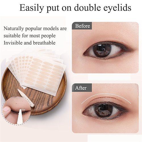 36~240pcs/Set Gauze Lace Mesh Olive-shaped Eyelid Paste-shaped Invisible Double Fold Eyelid Shadow Tape Sticker Beauty Tool