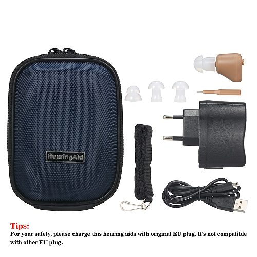 Rechargeable Mini Hearing Aids Sound Amplifier Wireless In Ear Hearing Device for Adults & Seniors with Storage Case & Lanyard