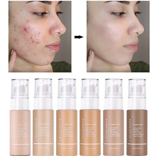 Langmanni 30ml Liquid Foundation Soft Matte Concealer 13 Colors Primer Base Professional Face Make up Foundation Contour Palette