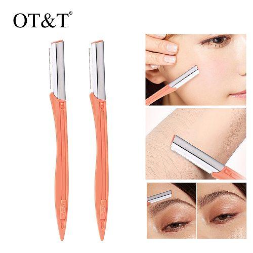 OT&T 2pcs Eyebrow Shaver Eyebrow Trimmer Shaper Makeup Knife Portable Facial Hair Remover Blade Razor Eyebrow Razor For Women's