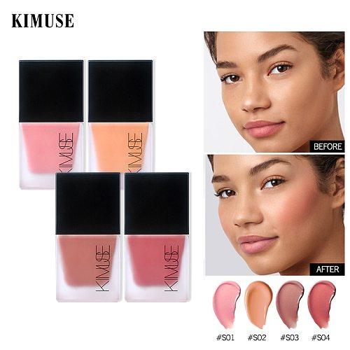 KIMUSE Liquid Blush Cosmetics Blusher Gel Creamy Rouge 4 Colors Long Lasting Natural Cheek Blush Face Contour Makeup Peach