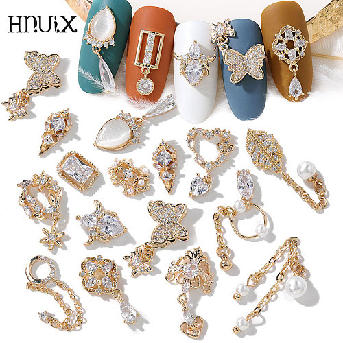 HNIUX 2Pieces 3D Metal Zircon Nail Art Jewelry Japanese Pearl Pendant Decorations Top Quality Crystal Manicure Diamond Charms