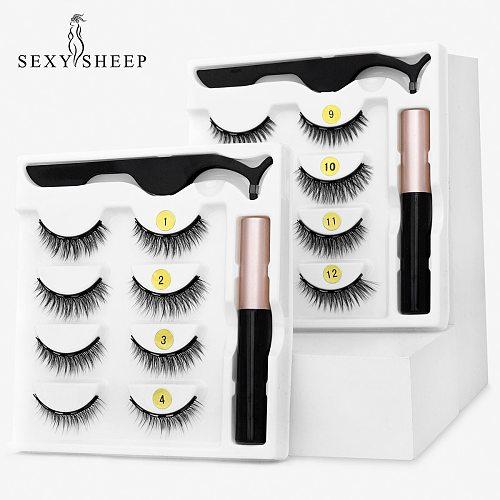 4/2 Pairs Magnetic Eyelashes 3D Natural Magnet False Lashes Waterproof Long Lasting Magnetic Eyeliner Eyelashes Sets Makeup Tool