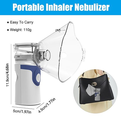Mini Portable Nebulizer Health Care Inhaler Nebulizator for Baby Kids Adults, Silent Handheld Rechargeable Atomizer Respirator