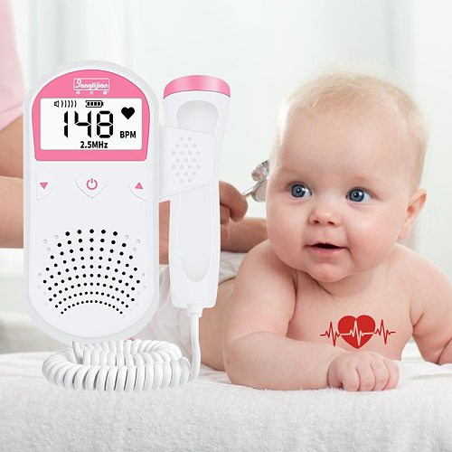 Portable Ultrasound Fetal Doppler Fetal Listen Baby Monitor Household Heartbeat Monitor For Pregnant Women 2.5M No Radiation