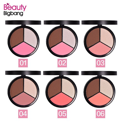 BEAUTYBIGBANG 3 Colors Face Blush Palette Natural Powder Rouge Makeup Brightening Lasting Durable Colors Blush Pigment Cosmetic